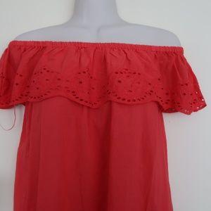 H&M Red Crochet Off Shoulder Cotton Blouse